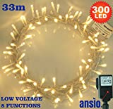 300 LED Warm White Fairy Lights Indoor Fairy Lights - LED String Lights - 8 Functions - Power Operated (300 LED 33M)