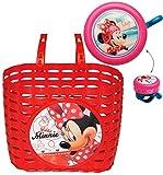 2 tlg. Set: Fahrradkorb / Korb + Fahrradklingel - Disney Minnie Mouse - mit Befestigung für Lenker vorn - Fahrrad Maus Mickey - rot - universal auch für Roller und Dreirad Laufrad / Kinderfahrrad Kinder - Mädchen