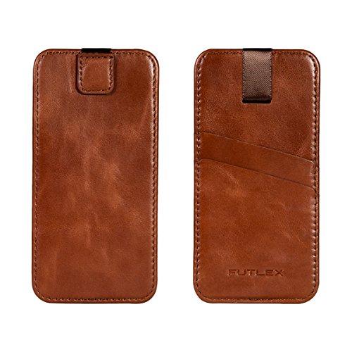 """Astuccio per iPhone 7 / 6 / 6S (4.7""""), Custodia FUTLEX in vera pelle, stile vintage - Linguetta a strappo - Custodia - Custodia a scorrimento - Marrone"""