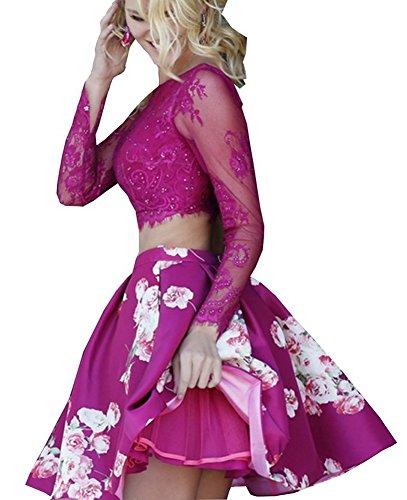Bridal_Mall - Robe - Trapèze - Manches Longues - Femme Violet Violet 34 Fuchsia