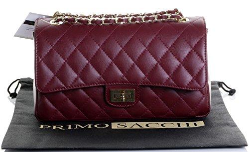 Borsa di cuoio italiano Design classico diamante forma borsa tracolla imbottita, con catena in metallo e cuoio, maniglie / tracolla include una custodia protettiva marca Rosso scuro
