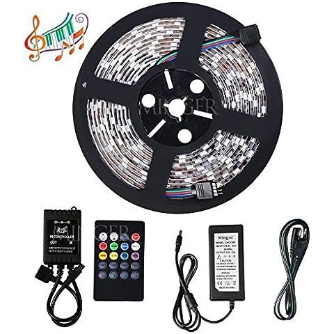 Minger Música Tira LED 5m/16.4ft 300leds- Leds RGB 5050 Tira de led-Multicolor - Control Remoto de 20 Botones y Fuente de Alimentación 12V 5A- Resistente al Agua