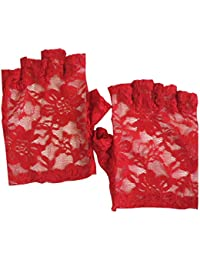 Classic Floral Lace Fingerless Gothic Witchy Fancy Dress Party Short Gloves One Size