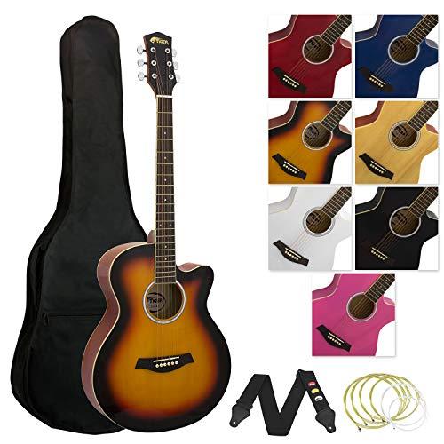 Tiger Acoustic Guitar - Cutaway Design - Sunburst
