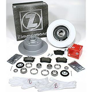 Autoparts-Online Set 60008557 Zimmermann Bremsscheiben 245 mm Coat Z/Bremsen mit fertig montierten ABS Sensorringen + Bremsbeläge + Radlager für Hinten/für die Hinterachse