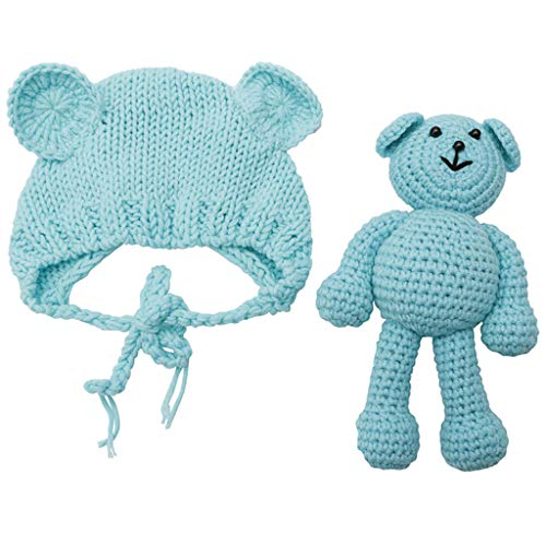 LDA GET Fresh Neugeborenes Baby Girl Boy Knit Kostüm Bär + Hut Set, Häkeln Strick Kostüm Bär + Hut Set für Baby Fotografie Prop Photo-Blue