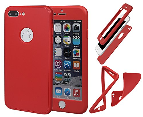 "Coque pour iPhone 7/8 Plus, xhorizon Protection à 360 Degrés Couverture du Corps Complet Ultra Fin Double Couche TPU Souple Housse Protectrice Antichoc Couvercle pour iPhone 7 Plus/ iPhone 8 Plus(5.5"" Rouge"