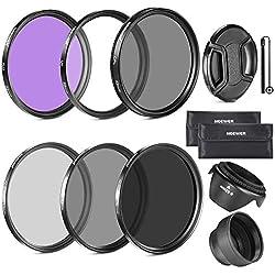 Neewer 77mm Filtre Kit pour Canon 24-105mm, 10-22mm, 17-40mm et Nikon 28-300, Zoom Objectifs: 77mm Filtre(UV, CPL, FLD) + Filtre ND (ND2, ND4, ND8)+Sac+Parasoleil+Parasoleil+Bouchon+Laisse
