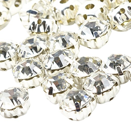 MagiDeal 100 Stück Diamante nähen auf Kristallen Rhinestone Perlen Verschönerung - Klar, 8mm