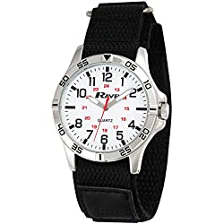 Ravel Work Watch with Fast Fit Action Grip Velcro Strap Men's Quartz Watch with White Dial Analogue Display and Black Nylon Strap R1601.61.11