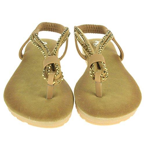 Frau Damen Diamante Zehenpfosten Slingback Sommer Strand Beiläufige Party Komfort Flache Sandale Schuhe Größe Braun