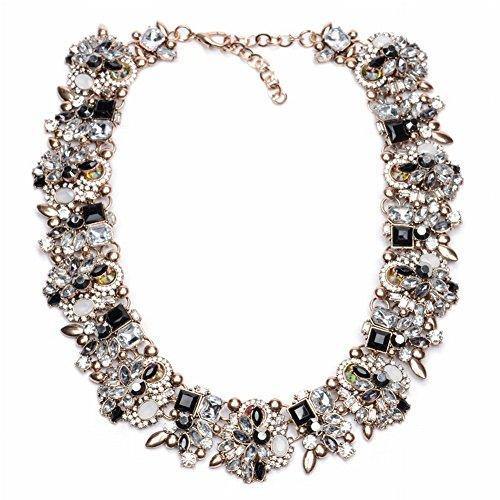 Luxus Halskette Voller Diamanten Schmuck für Frauen Schlüsselbein Kette Übertrieben Halskette , Schwarz-Weiss (Weiß Schwarz Diamant-halskette)
