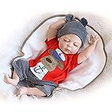 Weiche Babypuppe mit vielen lebensechten Funktionen mit Schlafaugen und Zubehör, inklusive 1 Strampler und 1 Mütze, geeignet ab 3 Jahren, 56 cm