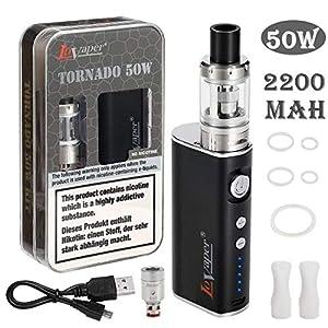 E Zigarette Starter Set: LoVaper 50W Box Mod Kit mit 2200mAh Vape Akku, Top Refill Verdampfer Kopf Tank 0.5ohm 2.0ml, Dampfer Ezigarette Starterset Ohne Nikotin Ohne E Liquid