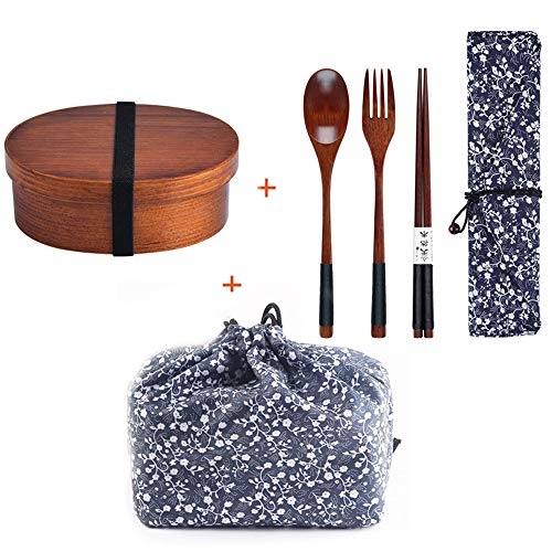 Coeffort Japanische hölzerne Brotdose Fach Sushi Lebensmittelbehälter für Kinder Bento-Box mit Tasche und Löffel Stäbchen Geschirr-Set,A Bento Sushi Box