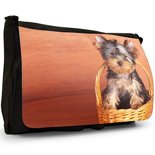 Fancy A Bag Borsa Messenger nero Puppy Dog In Bubbles Cute Puppy Sat in Picnic Basket
