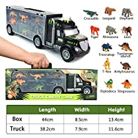 Dinosaur Toys Truck Transport Carrier Truck Toys with Dinosaur Toys Animals Toys 12 Pcs Double Inside Storage Set for Kids Boys Girls 3 Years Old