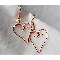 Magie di Trilli - Orecchini artigianali donna pendenti a cuore in rame - Idea regalo _ San Valentino
