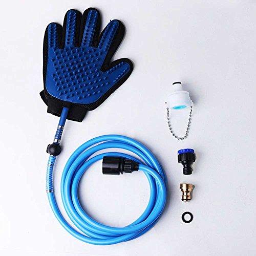 Multifunktionale Haustier-Handschuhe Hund Dusche Kopf-Katze Massage Haarentfernung Bürste-Indoor Outdoor Handsprüher-92 Zoll Schlauch 2 Schlauch Adapter,Blue,L