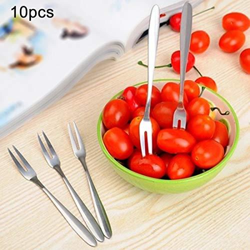 10PCS Fourchette à fruits en acier inoxydable Creative Environmental Petit fruit Prong outils de cuisine