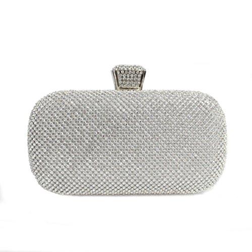 Borsa Da Sera Di Lusso Di Diamante Di Modo Della Borsa Delle Donne Sacchetto Nuziale Silver