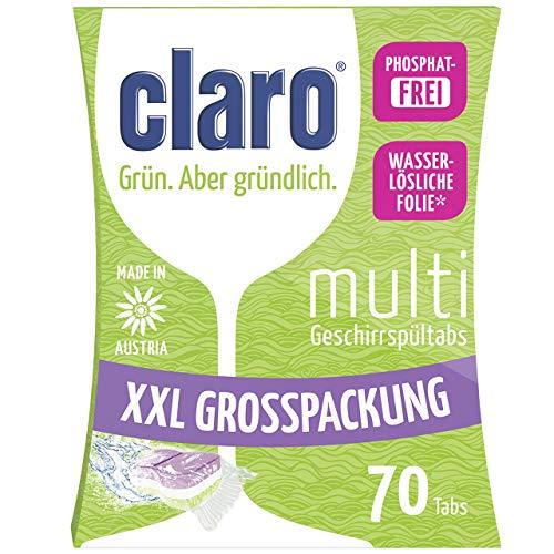 claro Öko Multi Tabs - 70 Stück phosphatfreie Alles in 1 Öko Spülmaschinentabs im Sparpaket