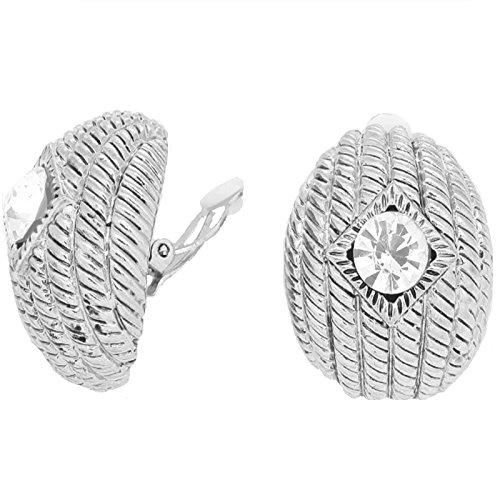 Schmuckanthony Trendige Große Ohrclips Clips Clip On Ohrringe Silber Gerippt Kristall Klar 3,5 x 2,8 cm (Gerippt Trendige)
