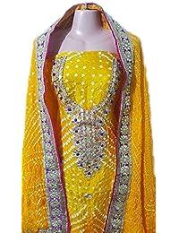 NS Creation Women's Gota Patti Handwork Art Silk Bandhini Suit With Jaipuri Art Silk Bandhej Dupatta With Crepe...
