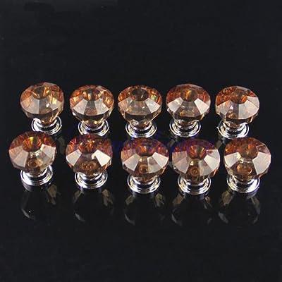 10PCS Amber Acrylic Drawer Pull Knob Cabinet Wardrobe Cupboard Bin Door Handles