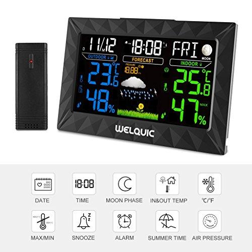 Wetterstation WELQUIC Wetterstation Funk inkl. Außensensor mit LCD Farbdisplay und Innen- und Außentemperaturanzeige mit Außen-Sensor, Tendenzanzeige