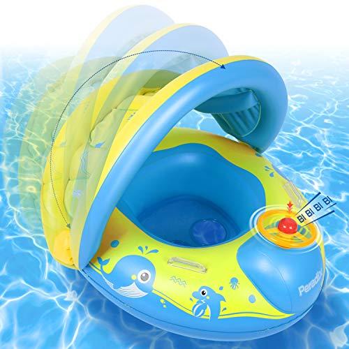 Peradix Baby Schwimmring mit Sonnendach Aufblasbares Kinderboot für Kinder ab 6 Monaten,Mehrweg(Blaues Gelb) (Kinder Einzigartige Spielzeug Für)