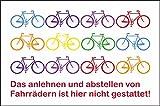 Fahrrad Schild -5338t- Bunte räder, mit 4 Tesa-Powerstrips
