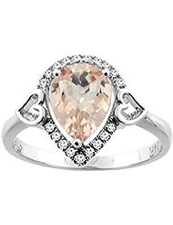 Revoni 14ct de oro con forma de pera anillo Natural colgantes diamantes 9 x 7 mm