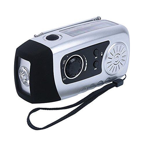Handy-ladegerät Solar Kurbel (IntiPal Kurbeldynamo Solar Radio Solarradio mit Kurbel LED Taschenlampe Notfall USB Handy Ladegerät Camping Outdoor (Silber Stil B))