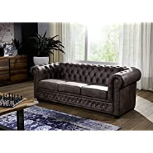 canap oxford aspect ancien vintage brun fonc chesterfield - Canape Ancien