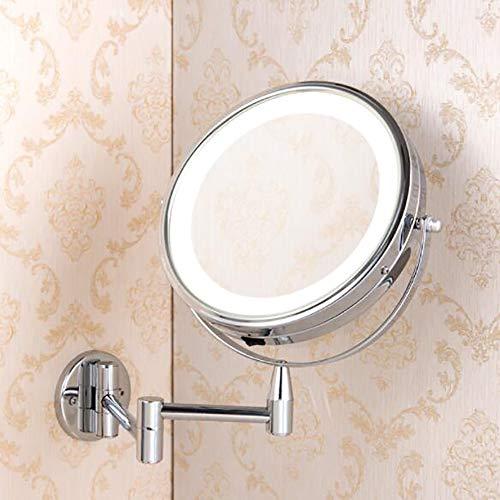 LED beleuchteter Kosmetikspiegel für die Wandmontage 7-fache Vergrößerung Doppelseitiger Kosmetikspiegel für das Bad Drehbarer ausziehbarer Kosmetikspiegel Angetrieben durch 4 AAA-Batterien -