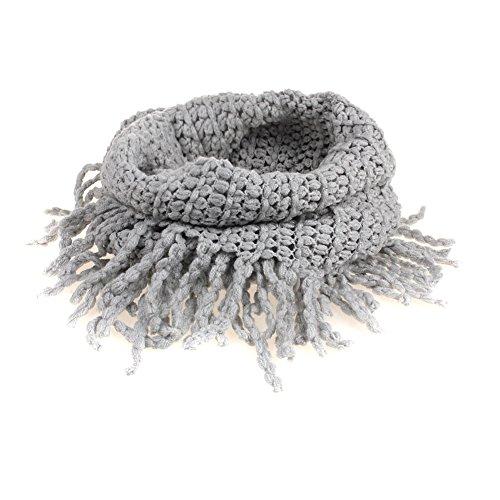 TININNA Fashionable Autumn Winter Kids Toddler Knit Warmer Tassels Neck Scarf Circle Loop Round Scarves Shawl - Grey