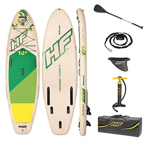 La tabla de paddle surf hinchable Hydro-Force Kahawai 65308 de Bestway será ideal para hacer un viaje recreativo en la piscina o en un lago tranquilo. Puede inflar fácilmente la tabla con la bomba manual incluida. Es adecuada para paseos largos y seg...