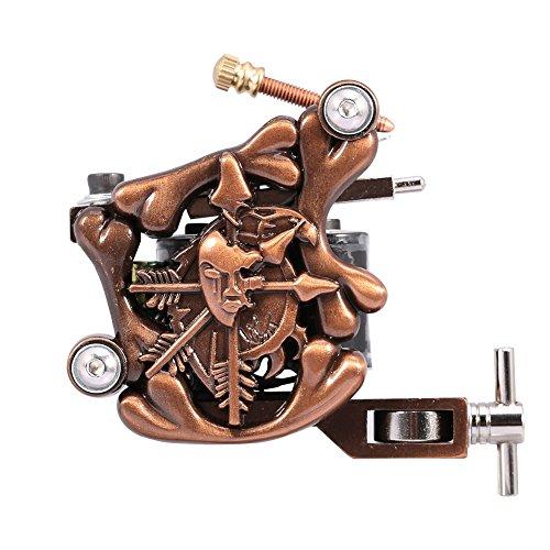 Professionelle Senior Gusseisen Schädel 10 Wrap Spulen Stille Motor Rotary Tattoo Maschinengewehr Versorgung Set Für Liner & Shader Körper Kunst<br/> - Rotary-spulen