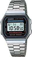 CASIO A168WA-1YES Digitaluhr silver black Edelstahl NEU