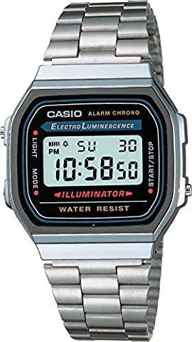 Casio Collection – Unisex Digital Watch with Stainless Steel Bracelet – A168WA-1YES