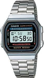 Casio A168WA-1YES Orologio Digitale da Polso, Unisex, Acciaio Inox, Argento