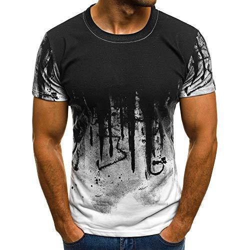 Riou Herren T-Shirt Rundhals Basic Sommer Kurz T Shirt Männer Casual O-Neck Camouflage Baumwolle Muscle Slim Fit Kurzarm T-Shirt Longshirt Tee 2019 (M, White)