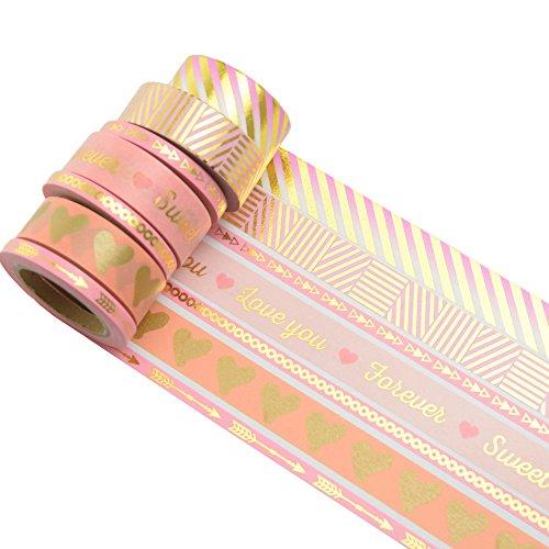 K-LIMIT 7er Set Washi Tape Dekoband Masking Tape Klebeband Washitape Scrapbooking DIY Valentines Valentinstag - Scrapbook-papier Weihnachten