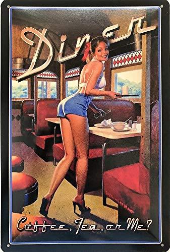 Deko7 Blechschild 30 x 20 cm Pin Up Girl - Diners 50`s Coffee, Tea or ME