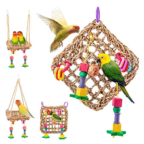 Techting Vogel Hammock Straw Woven Mat Chewing Übungs-Spielzeug Kletternetz Schaukel Leiter Holzblock-Vogelkäfig Hängen Spielzeug zufällige Farbe