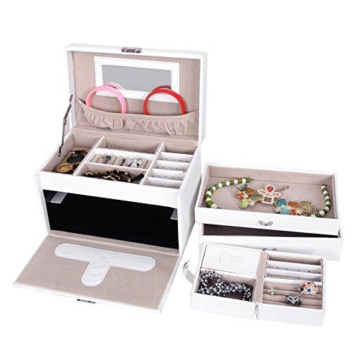 Songmics Schmuckkästchen abschließbar mit spiegel Schublade und Mini-Box (Weiß) JBC126W - 6