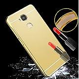 Prevoa ® 丨Huawei G8 Funda - Aluminum Bumper Funda PC Back Cover Case para Huawei G8 Android Smartphone - Oro