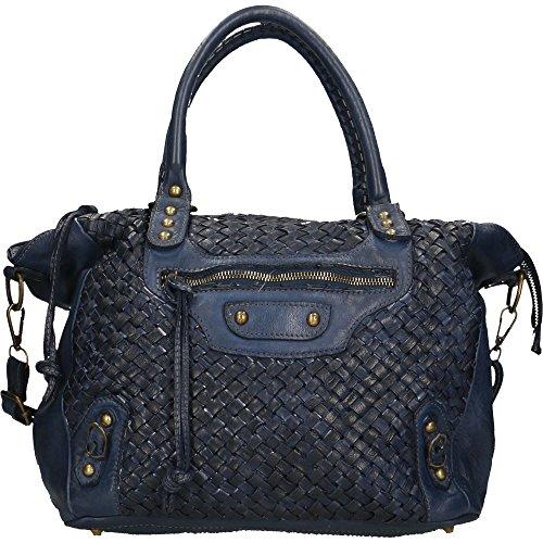 Cm echtem in Blau Chicca Made Borse in Leder Vintage Frau Handtasche 36x27x13 geflochtenem Italy OwXqI57x