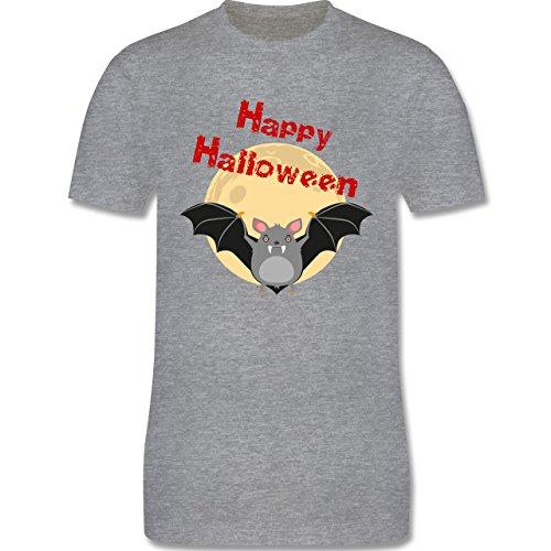 Halloween - Happy Halloween Fledermaus - Herren Premium T-Shirt Grau Meliert
